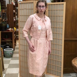 True Vintage 1960s Pink Dress, Jacket, and Shoes